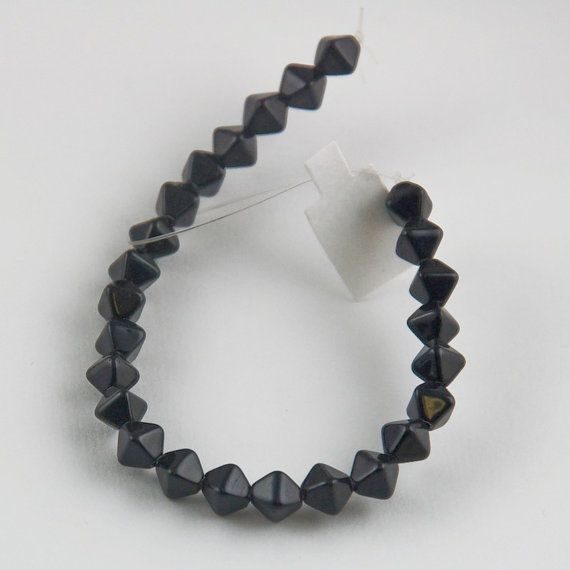 5mm Black Czech Glass Double Pyramid Beads - 6 inch strand - 25 pieces $2