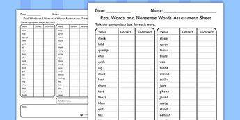 KS1 Real Words and Nonsense Words Assessment Sheets - KS1 ...