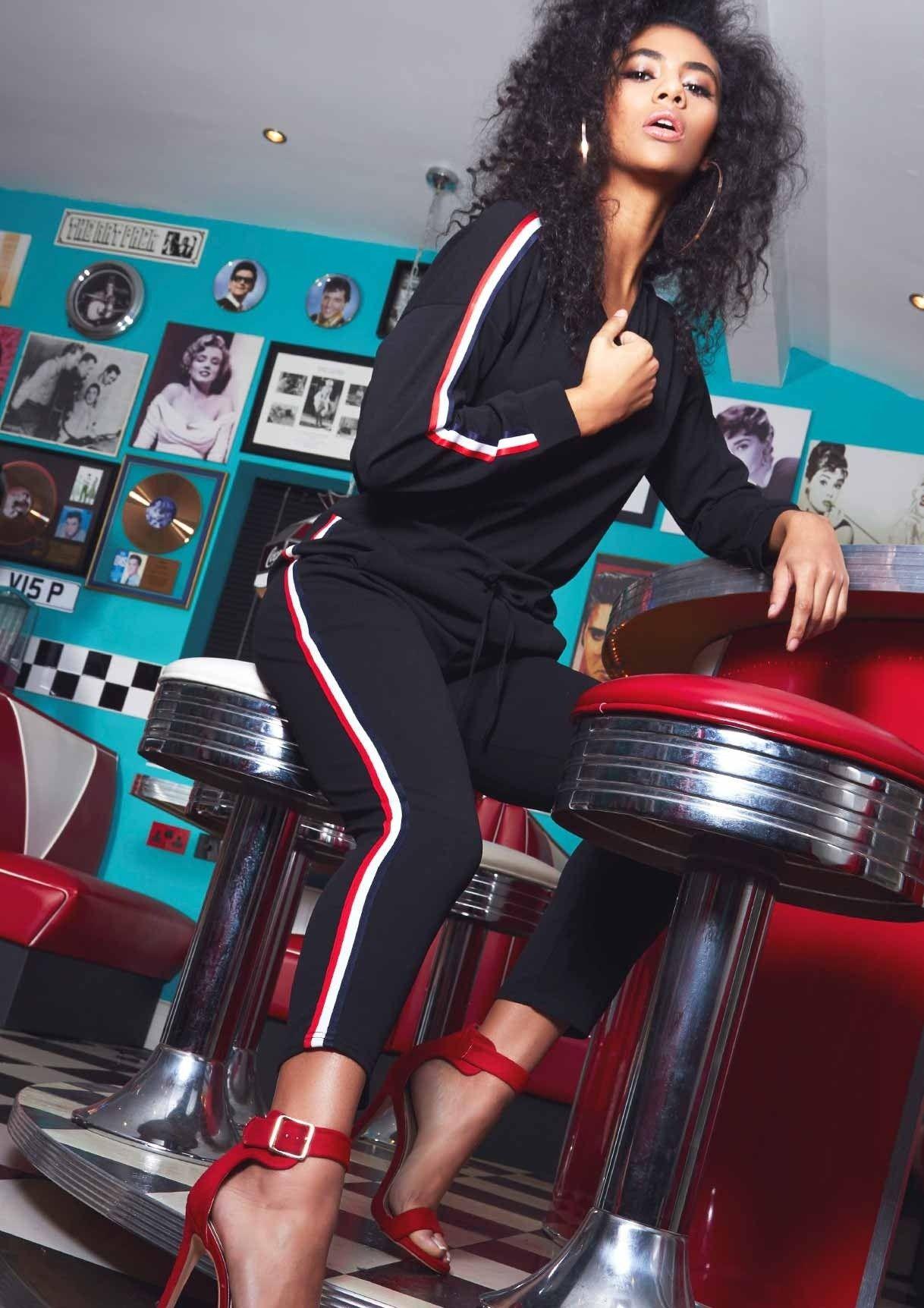 a0cdb04025 Missyempire - Stella Black Striped Jumper Loungewear Set