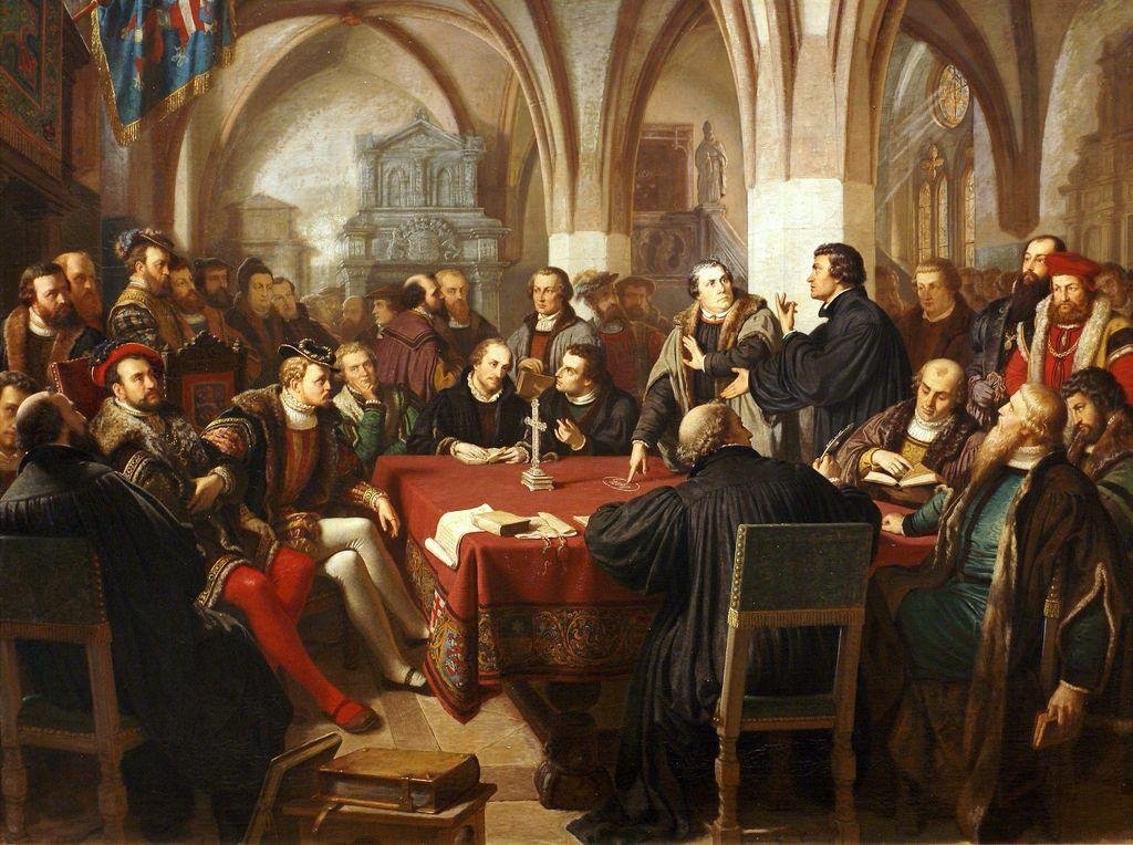 August Noack, Das Religiongsgespräch in Marburg 1529 (The Marburg Colloquy 1529)  August Noack (Bessungen 1822 - Darmstadt 1905), einer der bekanntesten Hofmaler des Großherzogtums Hessen-Darmstadt, widmete sich der Historie und religiösen Themen.