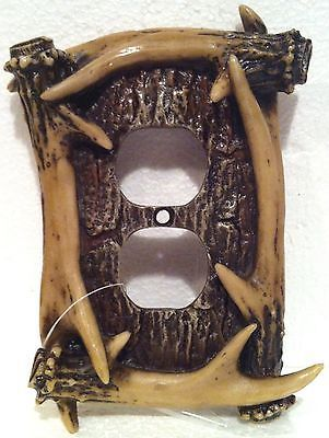 $9.49  NEW-Poly-Resin-Whitetail-Deer-Antler-Outlet-Plate-Cover-LOG-CABIN-Decor