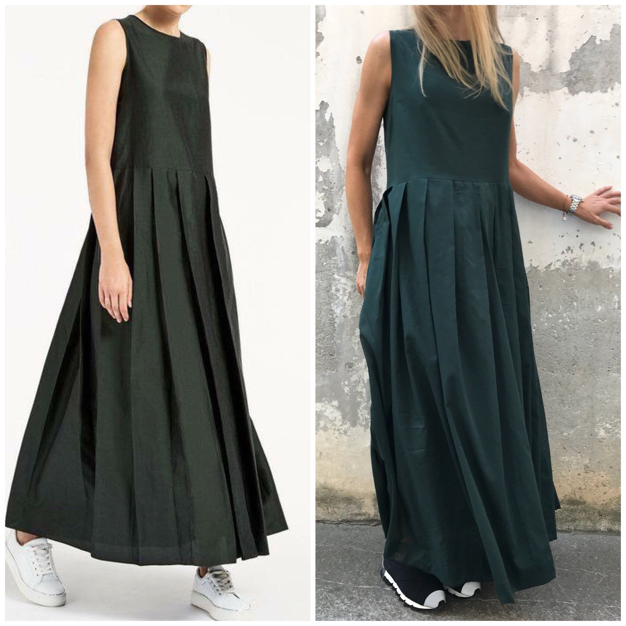 Pleated dress paradox long dress bridesmaid dress sleeveless