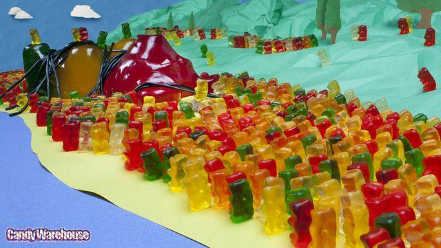 Giant Gummy Bear Captured by Lilliputian Gummy Bears!   Gummy bears, Gummy  candy, Yummy food