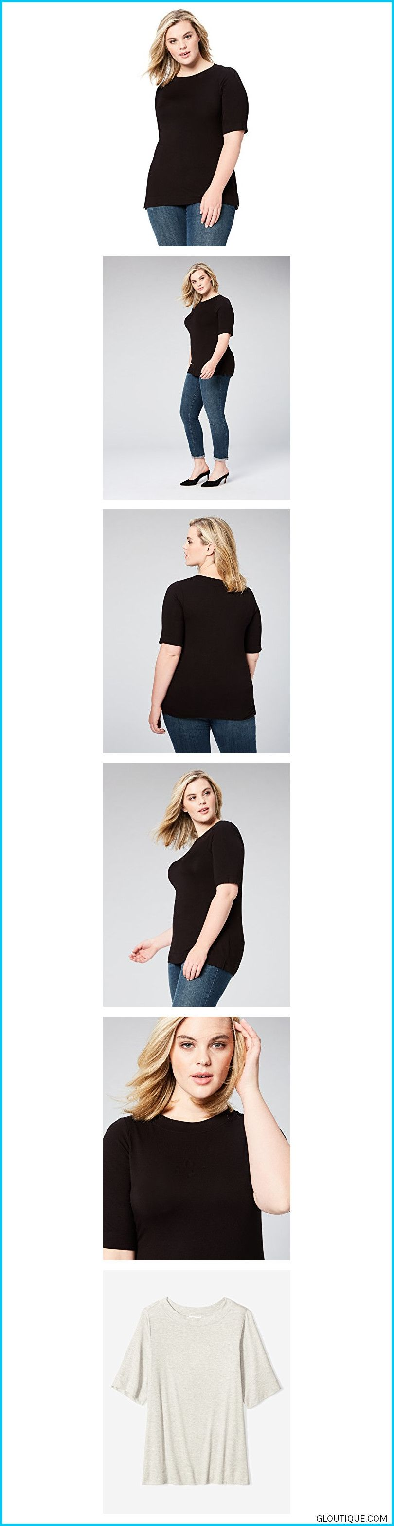 b6aa382c19 Daily Ritual Women s Plus Size Rib Knit Jersey Elbow-Sleeve Boat in ...