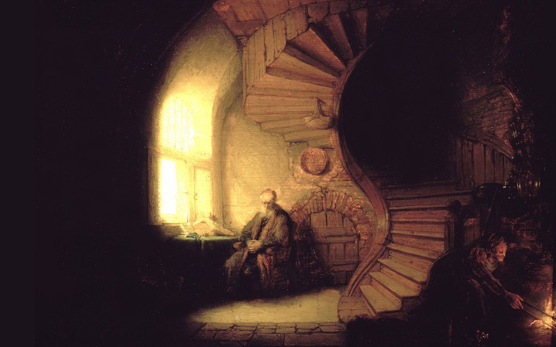 Rembrandt philosopher in meditation wallpaper download - Meditation art wallpaper ...