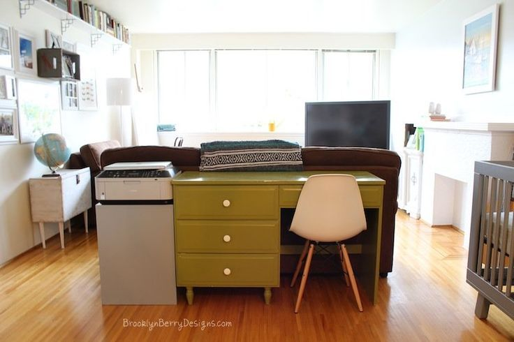 Use the space you got - desk used as a sofa table in family room.