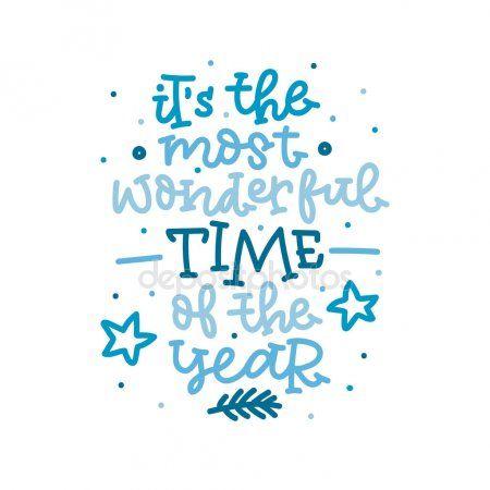 其年最美好的時光。手中藍顏色的英文字樣。矢量圖   Invierno