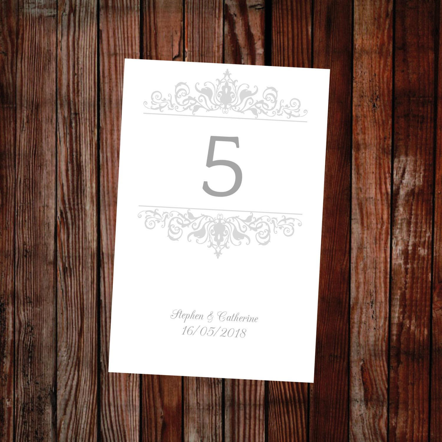 Table number template - (Adorn) silver –DOWNLOAD PRINTABLE ...