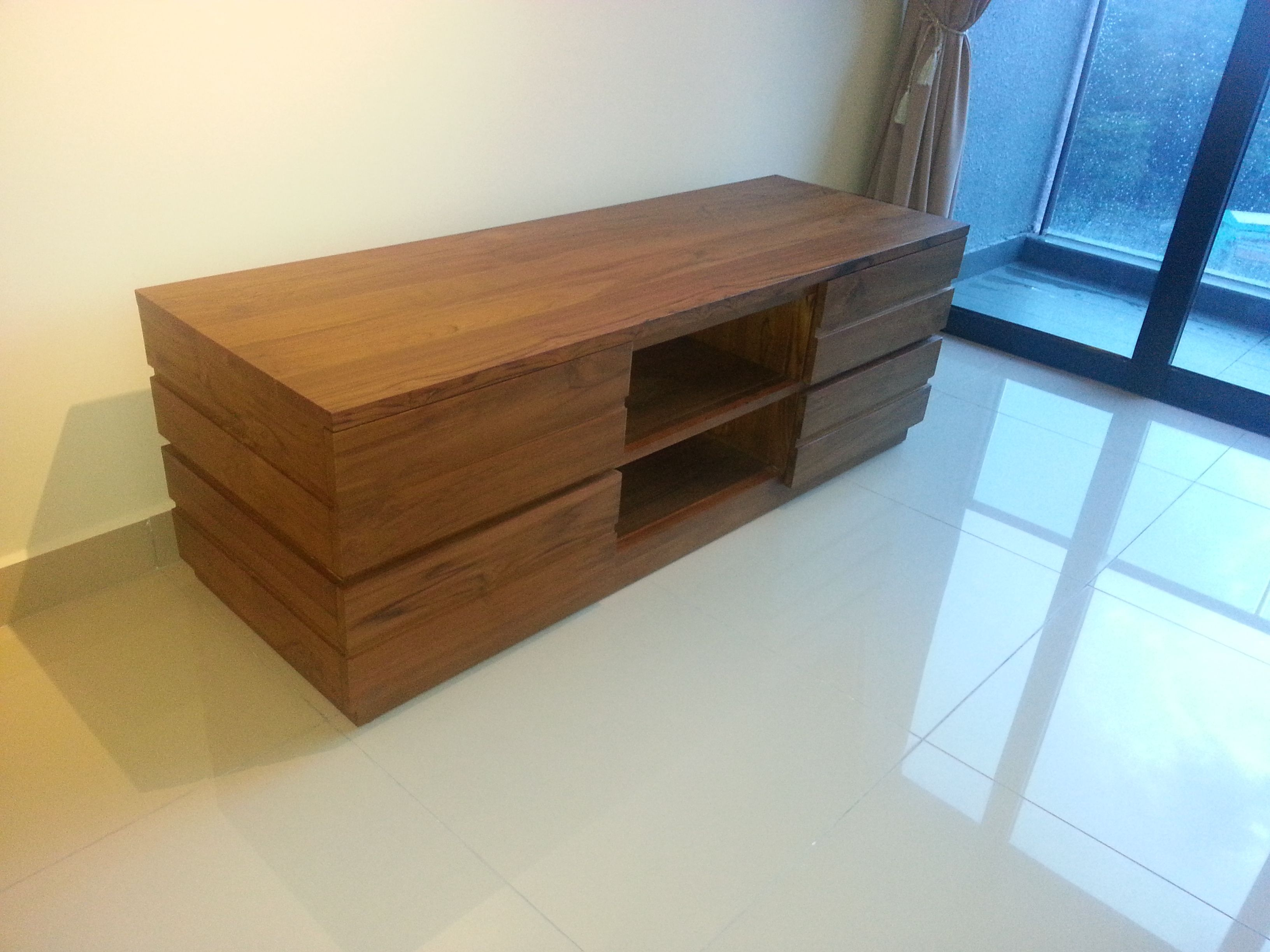 Solid Teak Wood Modern Tv Cabinet Available For Orders At