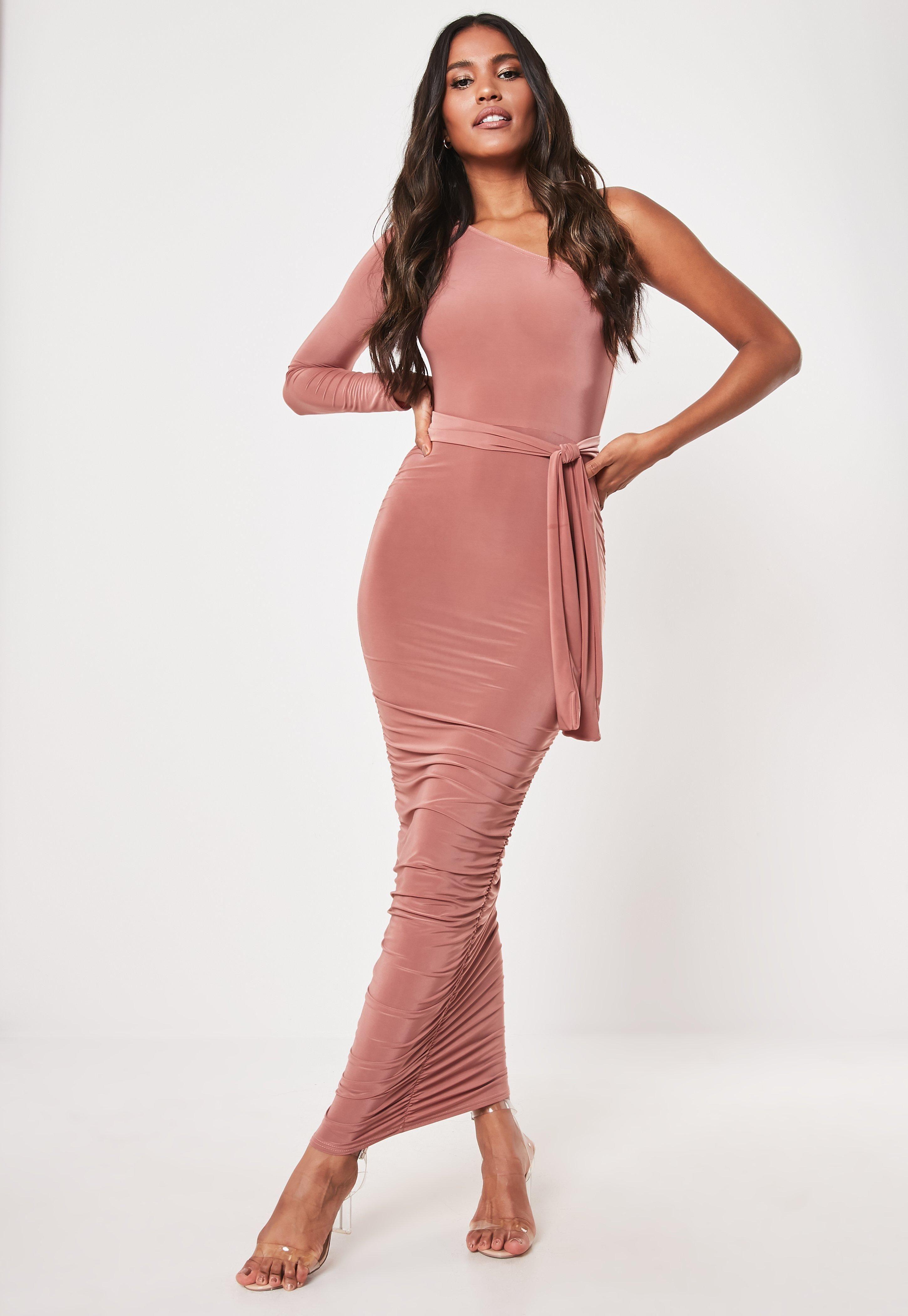 Blush One Shoulder Slinky Bodycon Midaxi Dress  Kleider