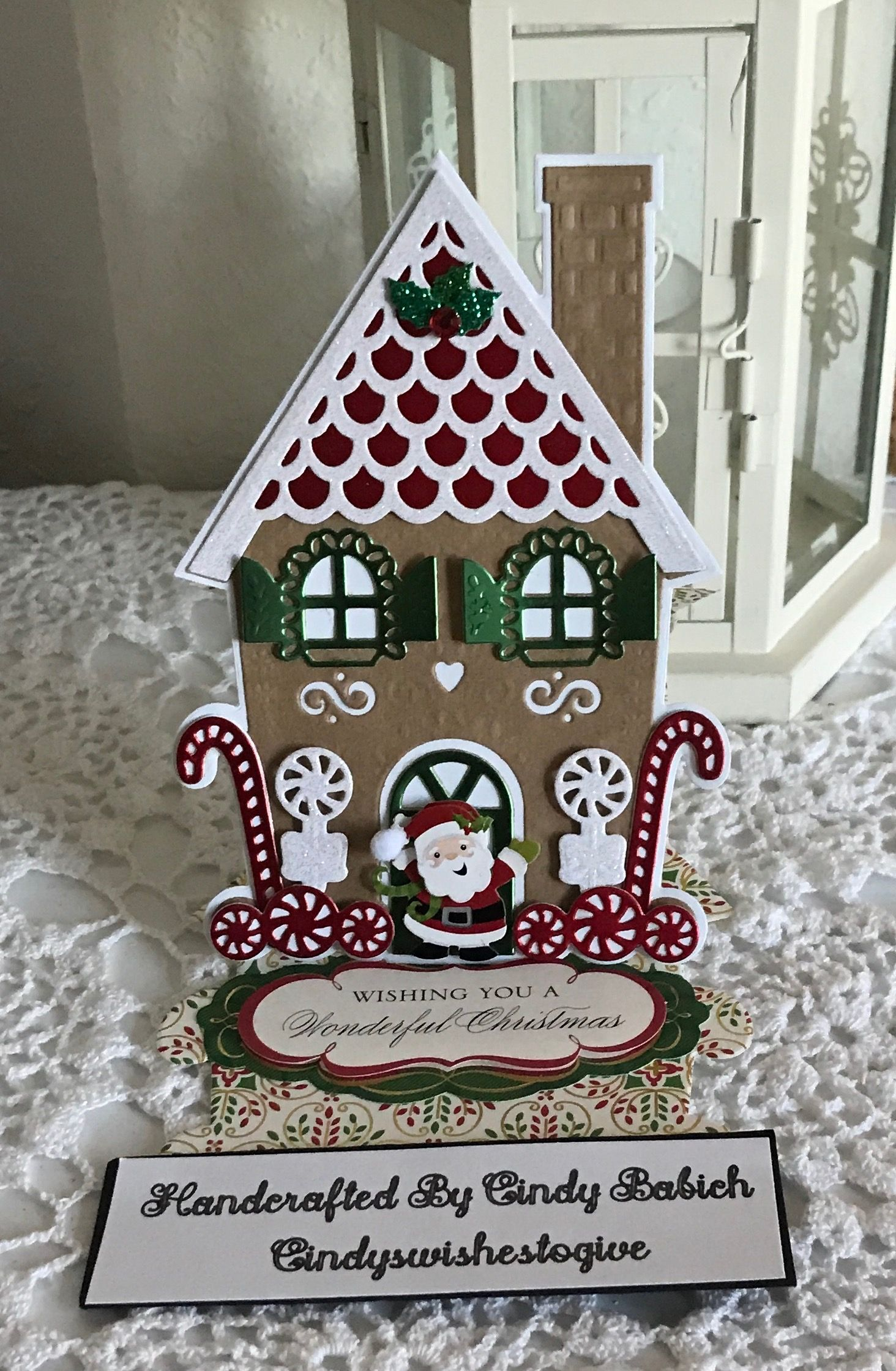 Gingerbread House Card Made With Anna Griffin Gingerbread House Easel Die Set Anna Griffin Christmas Cards Christmas Cards Handmade Homemade Christmas Cards