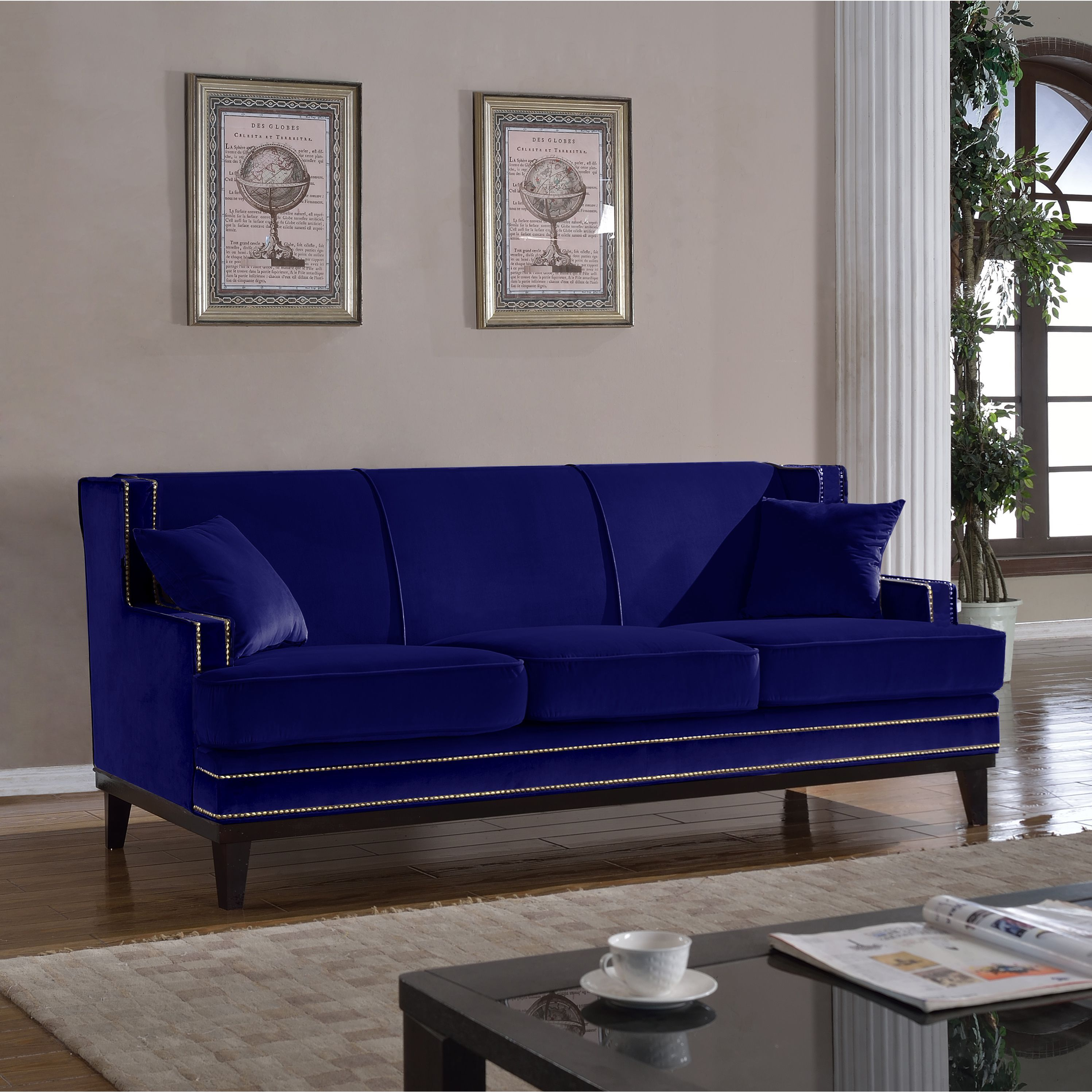 Beautiful And Elegantly Formal Sofa In Rich Colors With Gold Nailhead  Details Around Border. Sturdy Hardwood Build With Dark Wooden Legs And 2  Matching ...