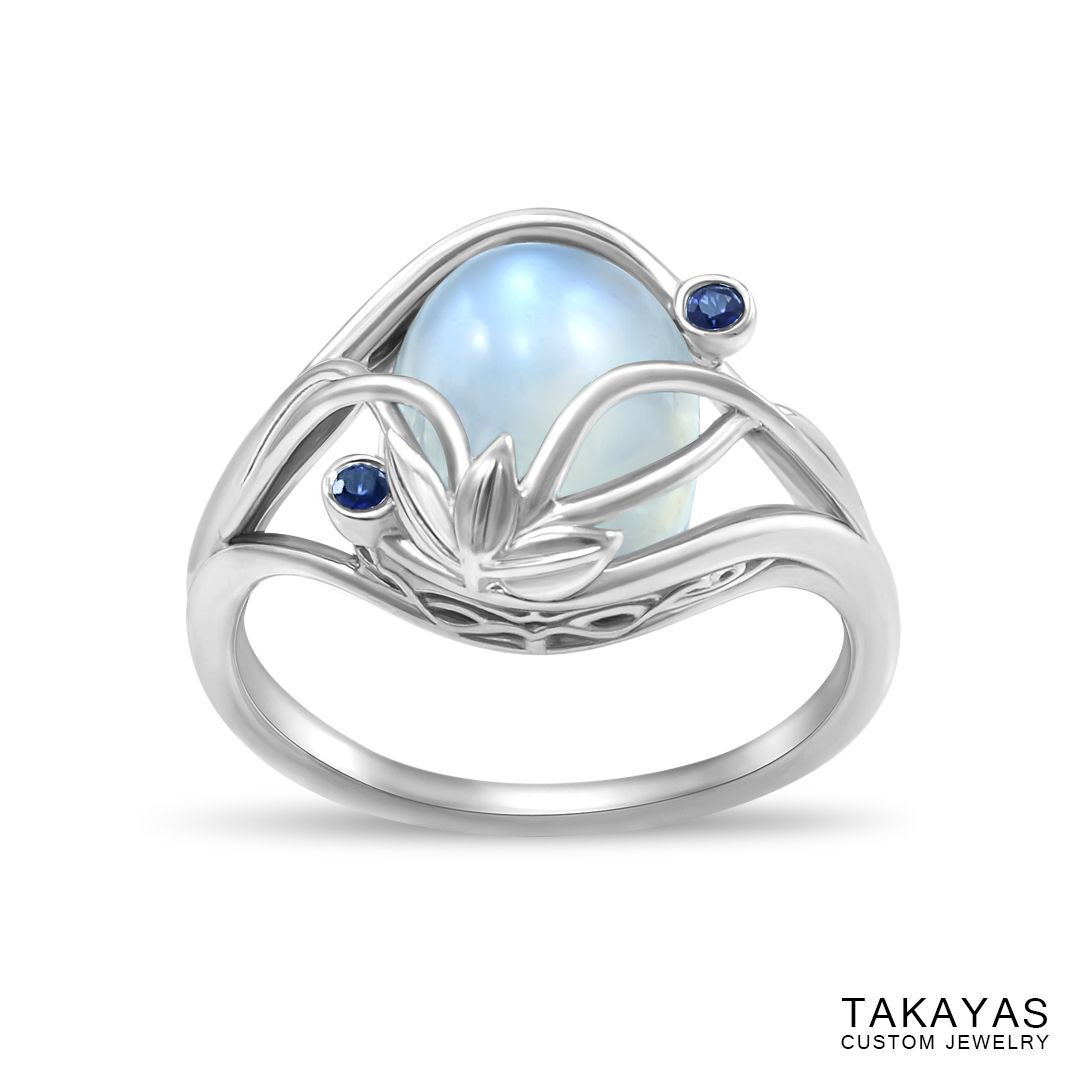 Elvish moonstone engagement ring by takayas angled top down view