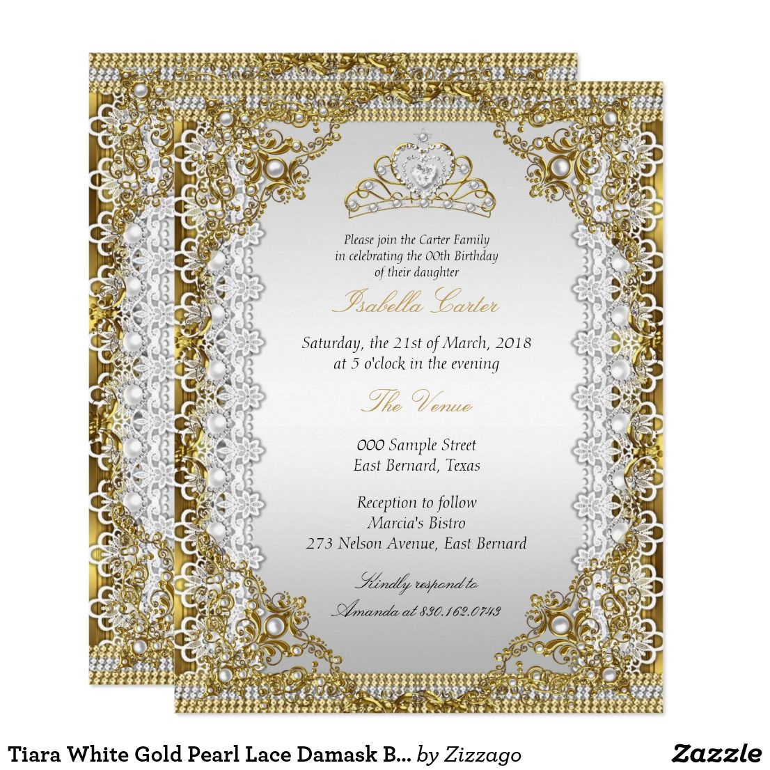 Tiara White Gold Pearl Lace Damask Birthday Party Card   Birthday ...