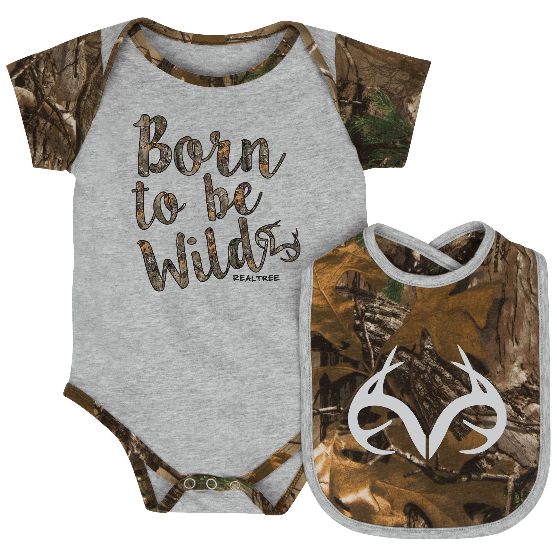 01149523894e3 Realtree Infant Girls' Born to be Wild Onesie and Bib Set | Baby Boy ...