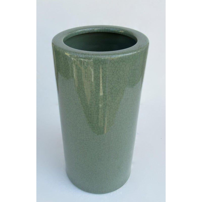 Asian Chinoiserie Porcelain Ceramic Crackelure Celadon Umbrella Stand In 2020 Umbrella Stand Porcelain Ceramics Celadon