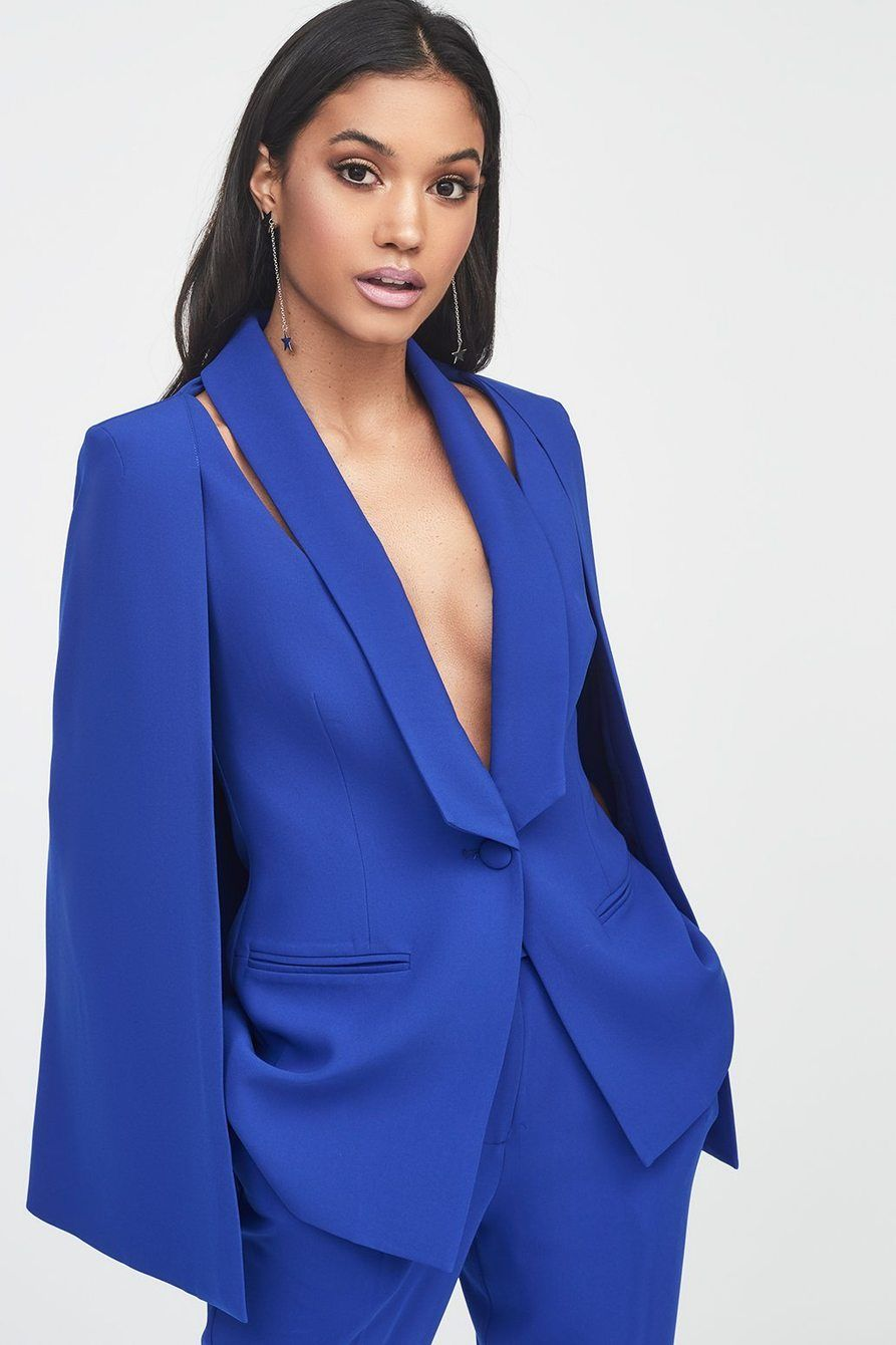 Fitted Cape Blazer with Cut Out Shoulder Detail   Style   Blazer ... 5e2e345f3196
