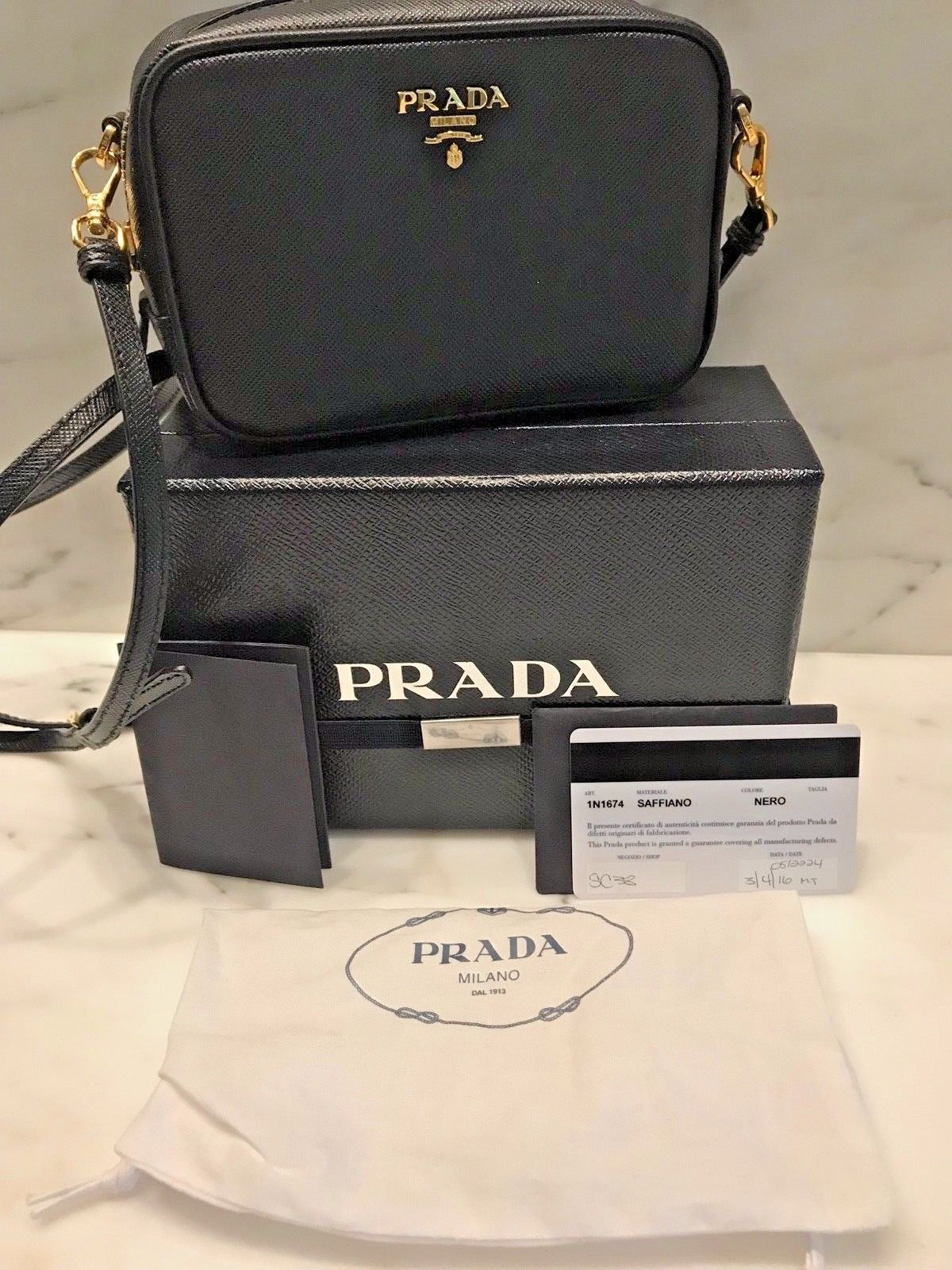 0901d6d584 Details about AUTHENTIC PRADA Black Saffiano Leather Crossbody ...