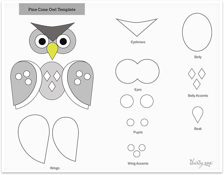 Photo of Pinecone owl craft template | Thirty-One Gifts LLC
