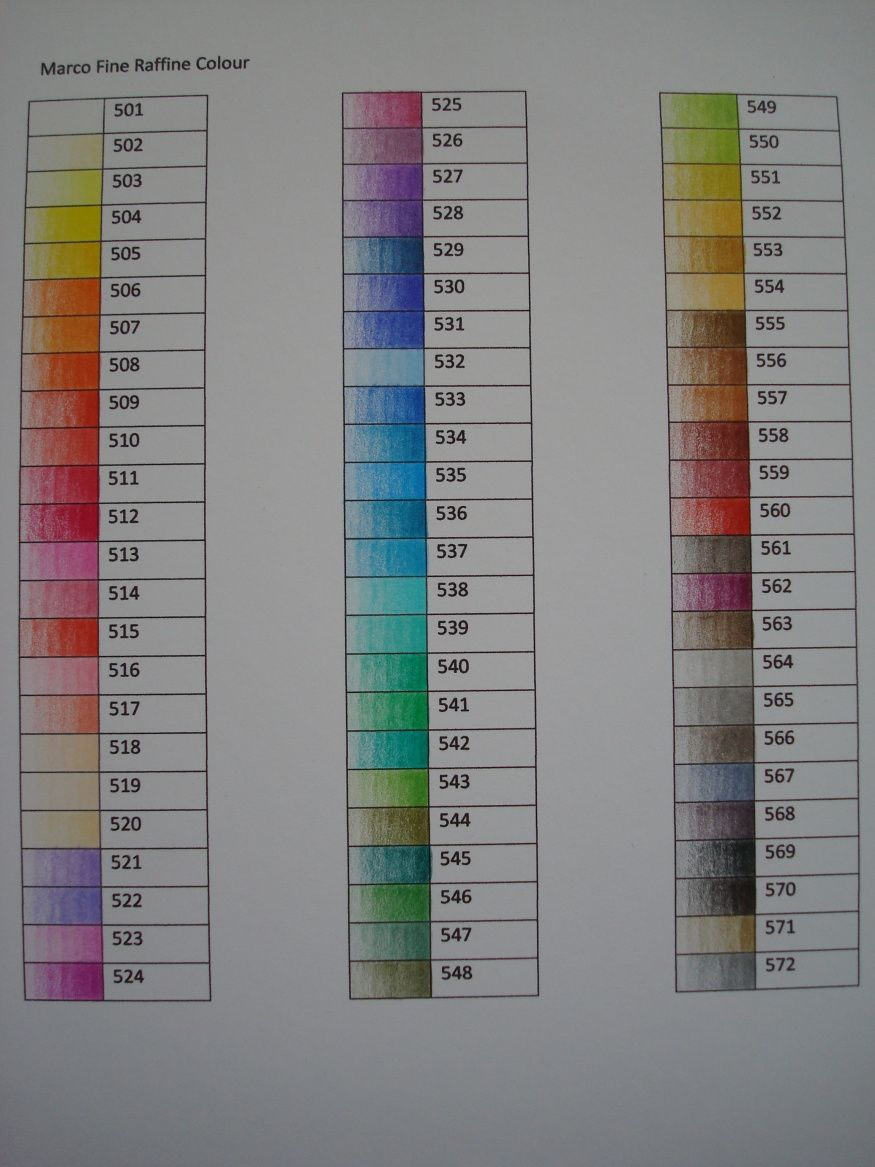 Marco Raffine colored pencil swatches