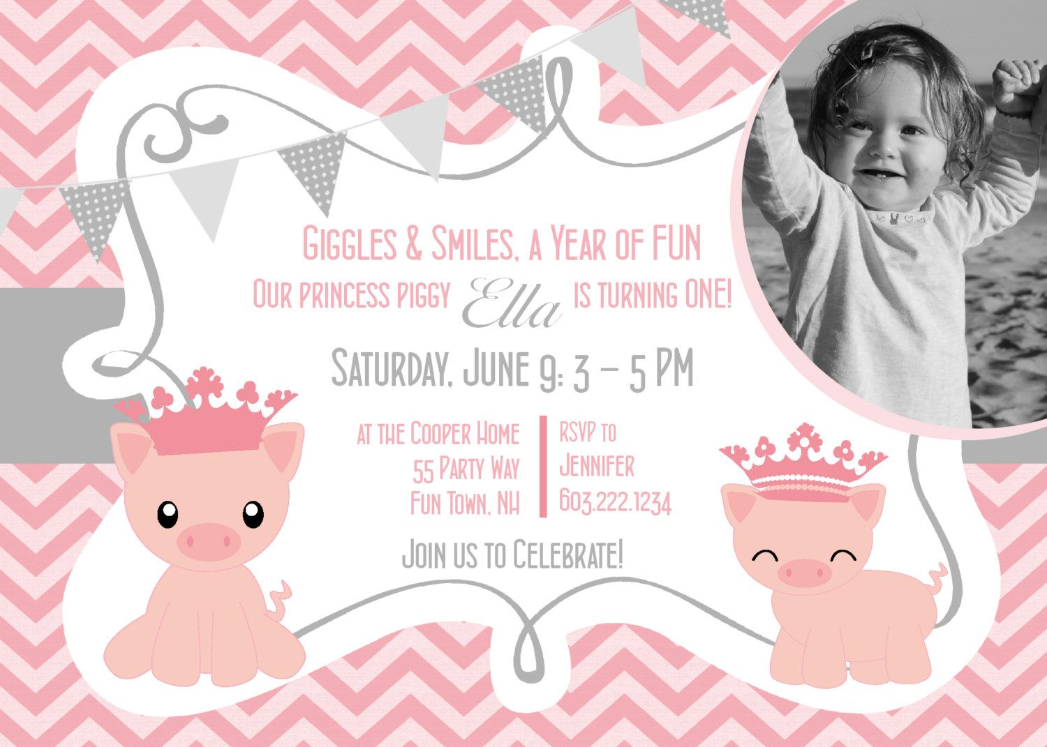Pig Birthday Party Invitations Girl First Birthday Pig Party ...