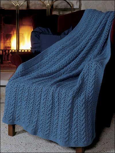 Free Knitting Patterns Blanket : Knitting - Afghans & Throws - Cables - Eyelet Lace Afghan - #FK00319 free...