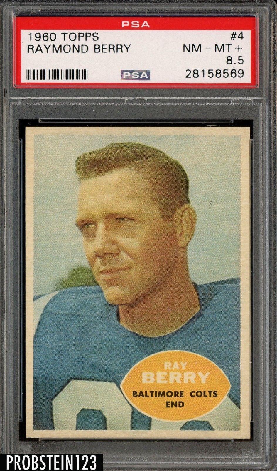 985c2ce0fe6 1960 Topps Football  4 Raymond Berry Colts HOF PSA 8.5 NM-MT+  FootballCards