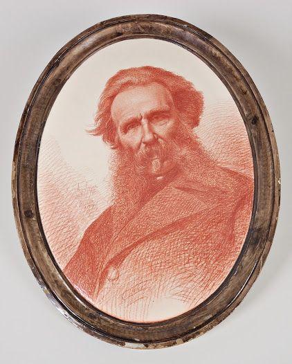 Achille Farina. Autoritratto su ceramica (1876).