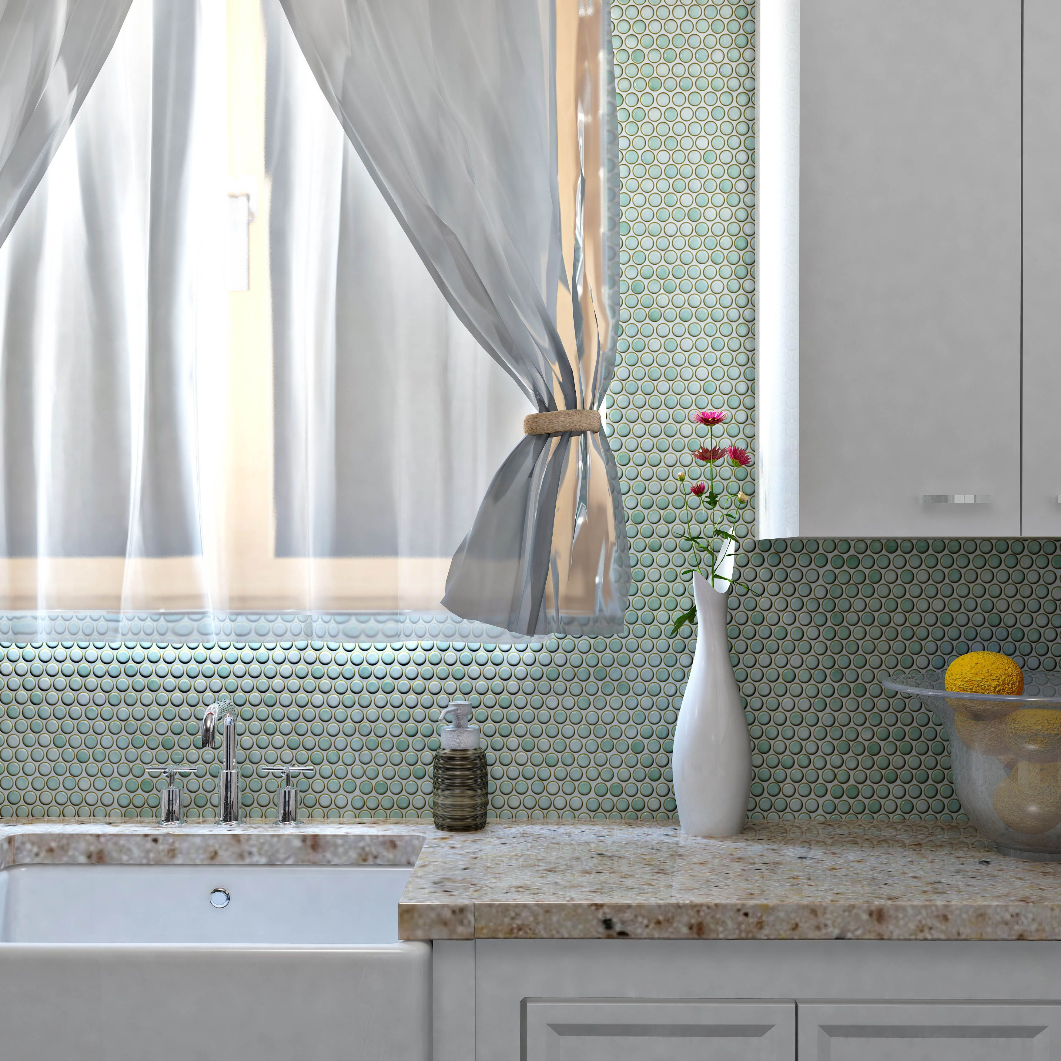 Add A Pop Of Color In Your Kitchen With A Penny Round Tile