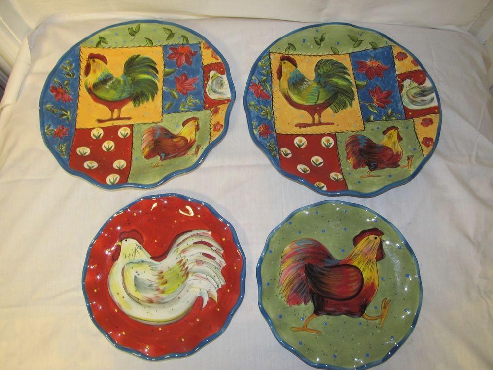 Set of 4 Certified International Round Rooster Plates Susan Winget Quilt Dinner #Certifiedinternational & Set of 4 Certified International Round Rooster Plates Susan Winget ...