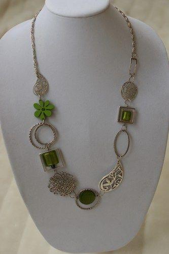 Green long necklace - Green mi-long necklace - Modern necklace | LesBijouxLibellule - Jewelry on ArtFire
