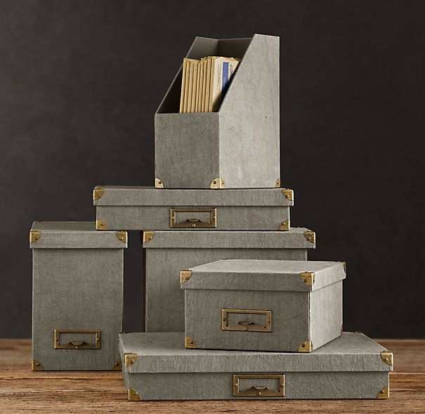 Nice Linen Office Storage Boxes And Accessories Fog From Restoration Hardware.  Http://cococozy