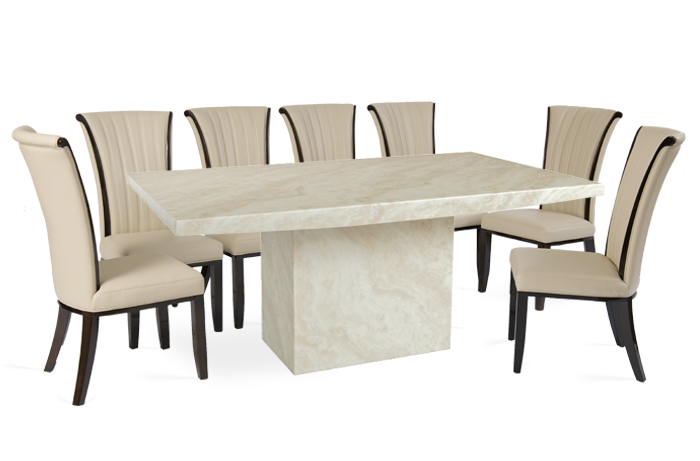 The Crema Large Marble Dining Table With 8 Alpine Leather Dining Chairs Is 180cm In Le Dining Table Marble Dining Room Contemporary Interior Design Dining Room