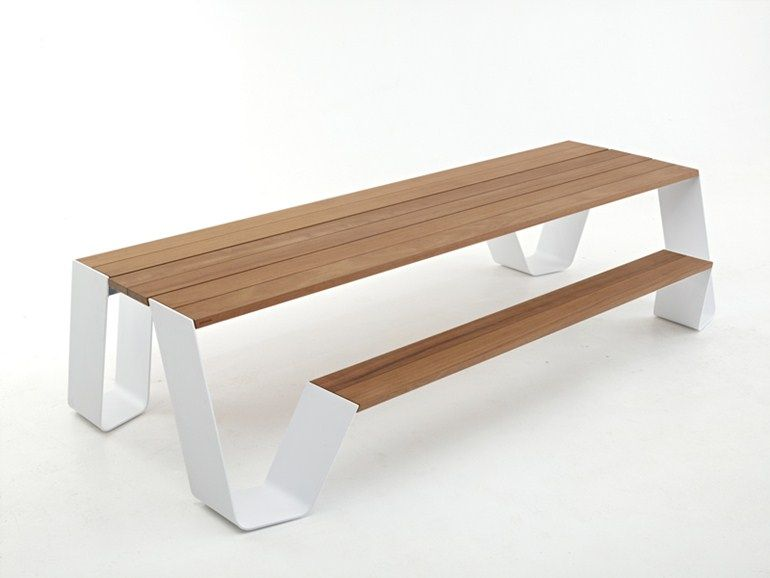 Picnic Table With Integrated Benches Hopper Collection By Extremis
