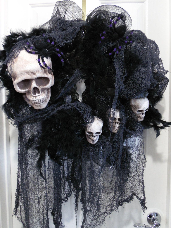 Scary Halloween Wreath Skull Wreath Skull and Bones