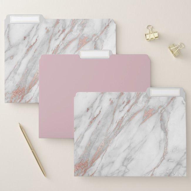 Rose Gold Marble File Folders Set Of 3 Zazzle Com Rose