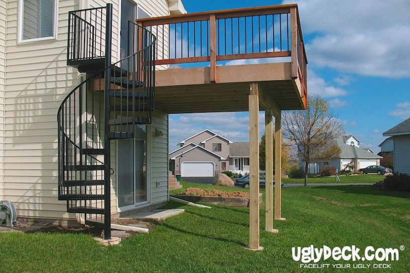 Pin By Uglydeck Com On Outdoor Spiral Staircases Staircase | Spiral Staircase Outdoor Deck | Outside Deck | Built Spiral Stair | Balcony Outdoor | Log | 3 Storey