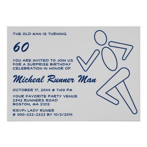 Blue Runner Running Surprise Funny Birthday Party Invitation