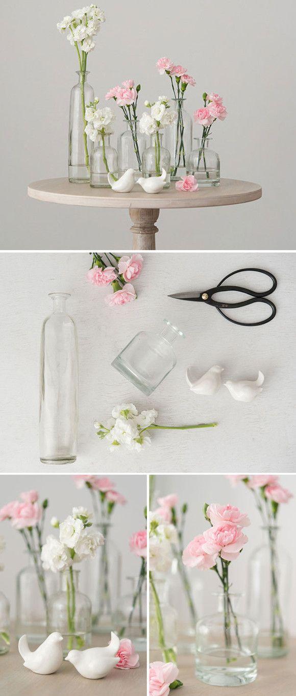 Diy Hochzeit Tischdeko Tipps Selbst Gemachte Blumen Vasen