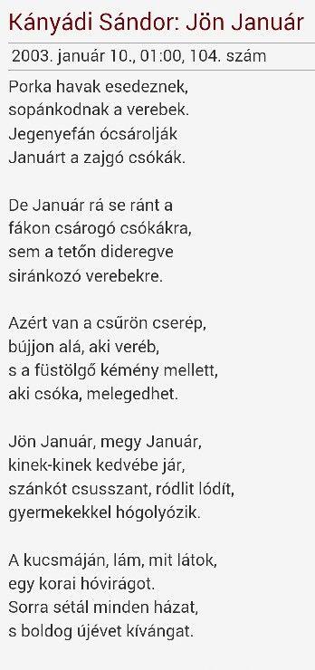 Kányádi Sándor: Jön január | Tetons
