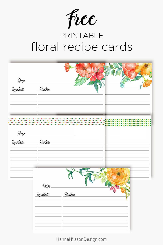 Floral Recipe Cards Organize Your Recipes Menu Planner Free Printable Recipe Binder Recipe Cards Printable Free Floral Recipe Cards Recipe Cards