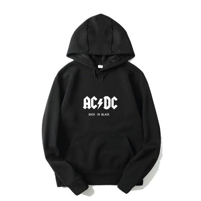 AC DC Hoodie Men Hip Hop Rock Band ACDC Back In Black