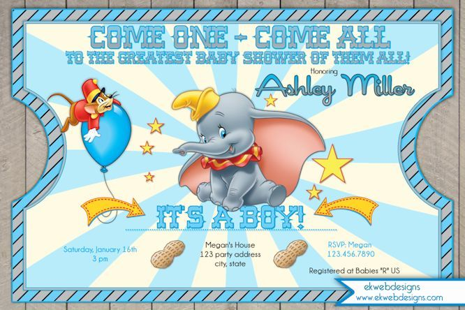 Dumbo Circus Ticket Style Baby Shower Invitations Dumbo