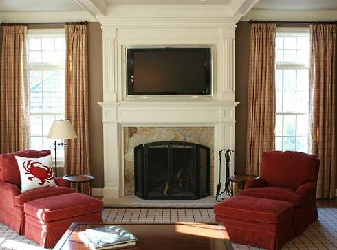 fireplace and flat screen tv designs | recessed panel between the