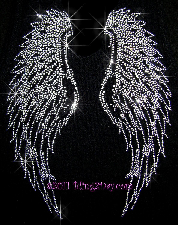 Clear Crystal Angel Wings - Iron on Rhinestone Transfer Hot Fix Bling  Applique - DIY.  9.99 ef07d3dcf612