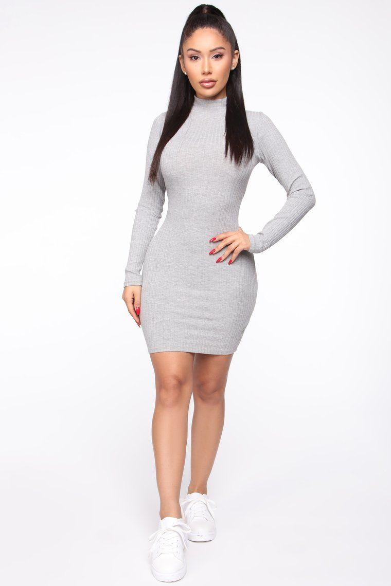 Got Me Covered Ribbed Mini Dress Heather Grey Dresses