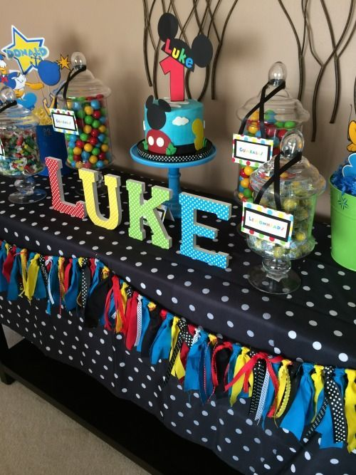 Image result for mickey mouse dessert and candy table at a birthday ...