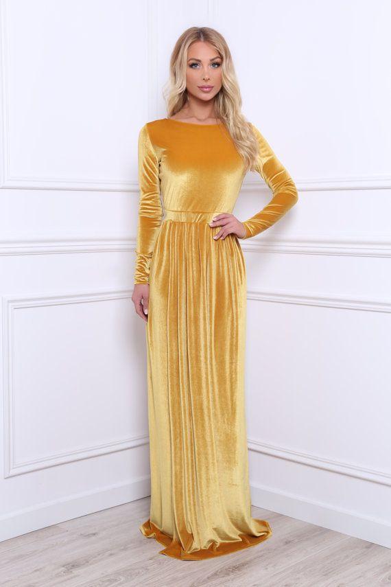 bb5bcd25638296 Yellow Gold Velvet Maxi Dress Slit Long Sleeves | 2017 | Dresses ...