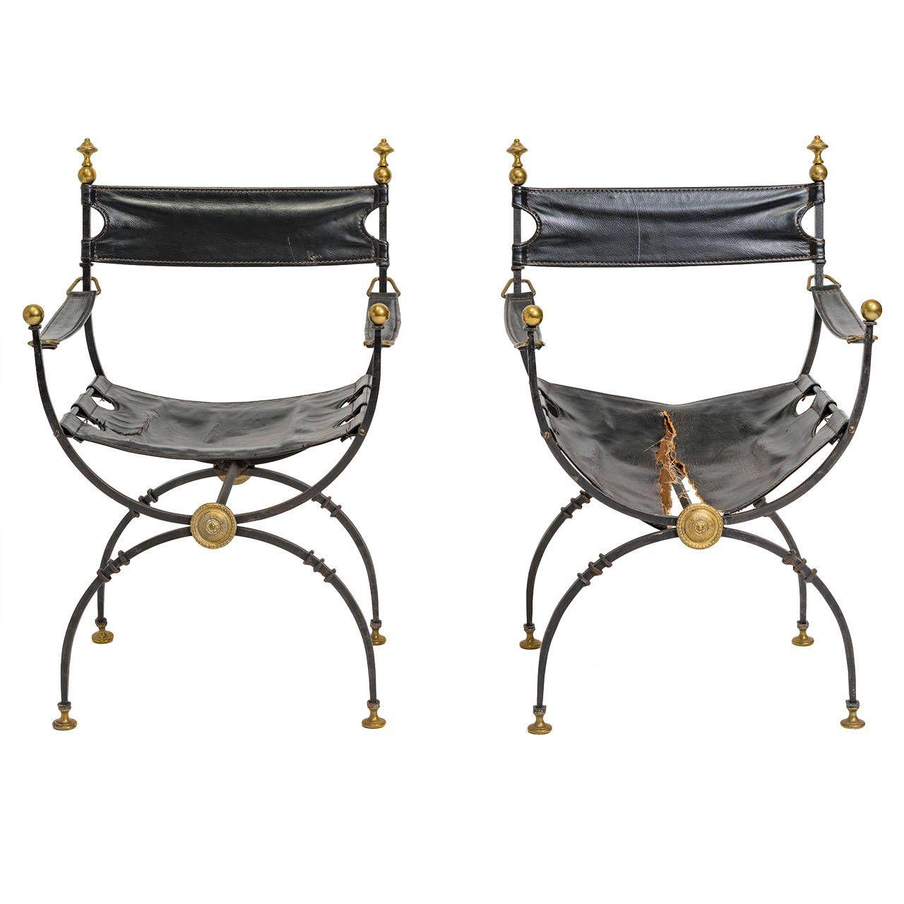 Modern savonarola chair - Pair Of Iron And Brass Savonarola Chairs