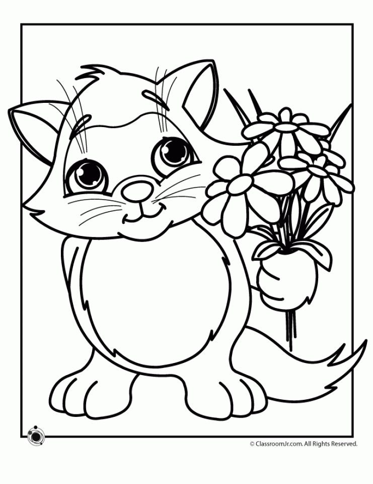 Kitten Coloring Pages Spring Coloring Pages Spring Coloring Sheets Kittens Coloring